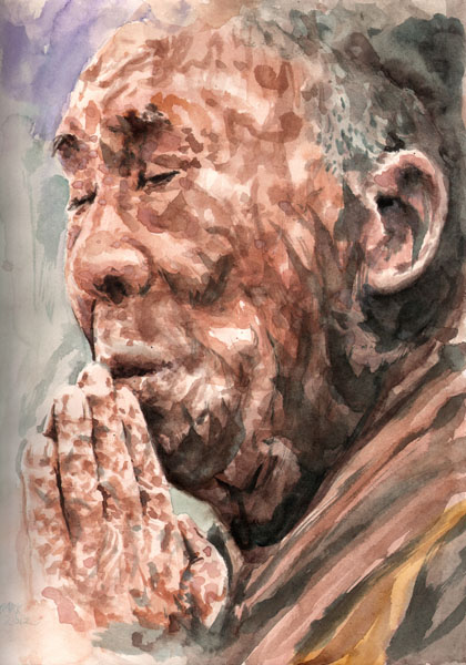 At Prayer - Canvas Giclee