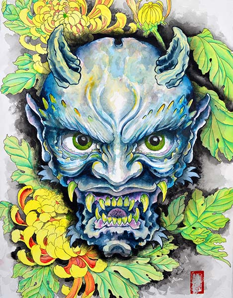 Blue Oni - Canvas Giclee