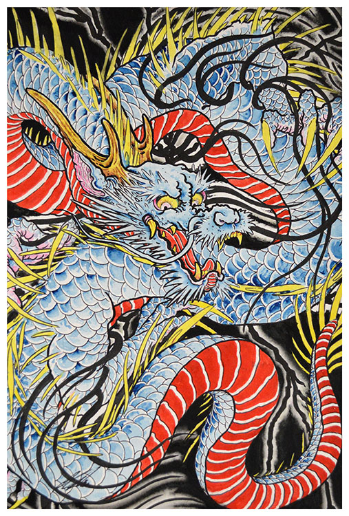 Dragon in Indigo - Art Print