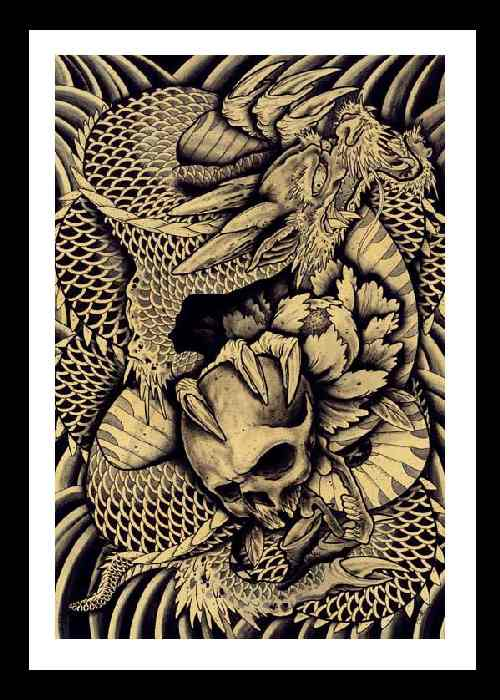 Dragon & Skull Art Print