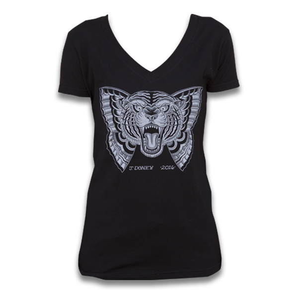 Womens Flying Tiger - V Neck Tee