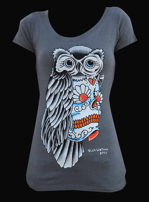 Womens Owl Sugar Skull Scoop Neck Tee