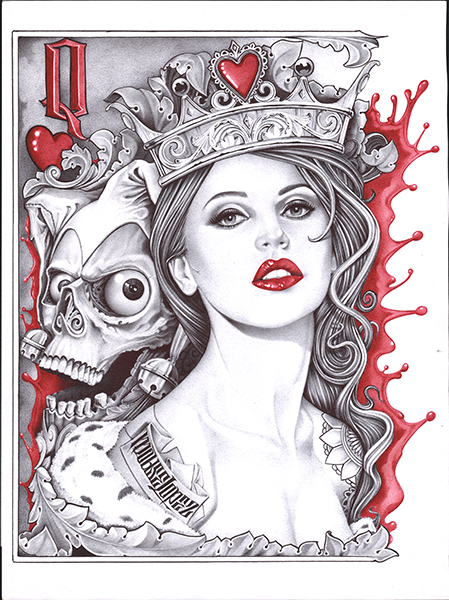 Lopez Queen Of Hearts - Canvas Giclee