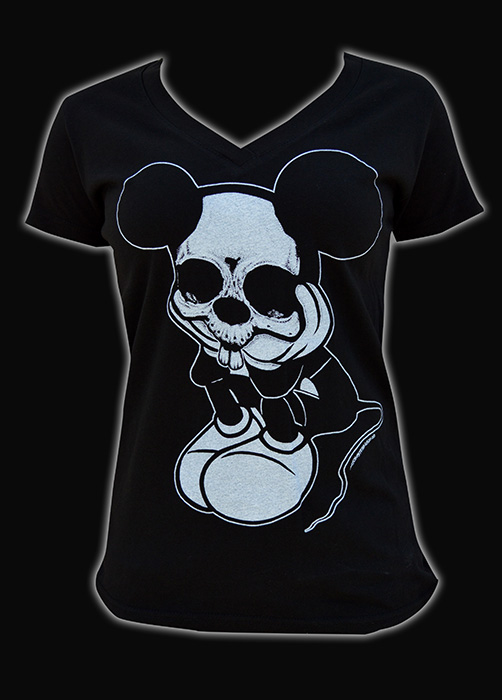 Womens Sad Mouse V Neck Tee