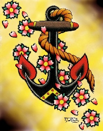 Anchor & Flowers - Canvas Giclee