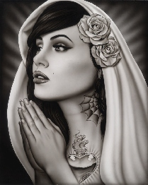 Tattooed Mary - Canvas Giclee