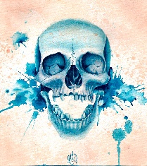 Blue Skull - Canvas Giclee