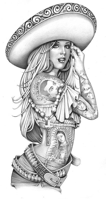 Charra Tattoo Art Zapata Canvas Giclee Black Market