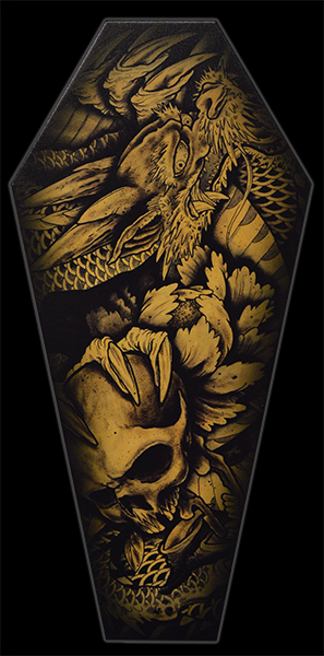 Dragon & Skull - Canvas Coffin Giclee