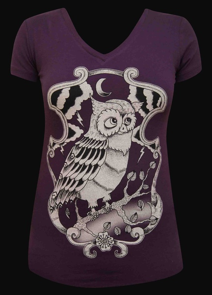 Womens Night Owl V Neck Tee
