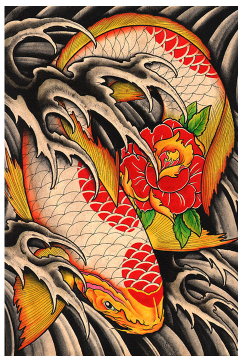Clark north black market art company tattoo art apparel for Japanese koi fish wholesale